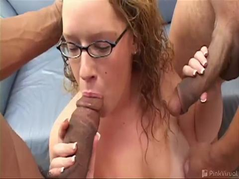 Our deep dick connoisseurs snagged Rachel at the grocery store! Wanting to introduce her to fine dining, they whipped out 2 meaty cock morsels and stuffed her like a x-mas goose! Watch this white honey make a meal and half outta these 2 colossal black sausages!