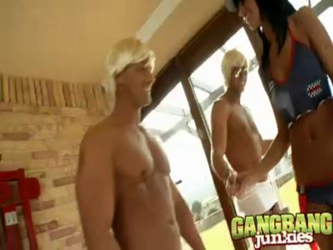 Black Angelika gang bang video from Gang Bang Junkies
